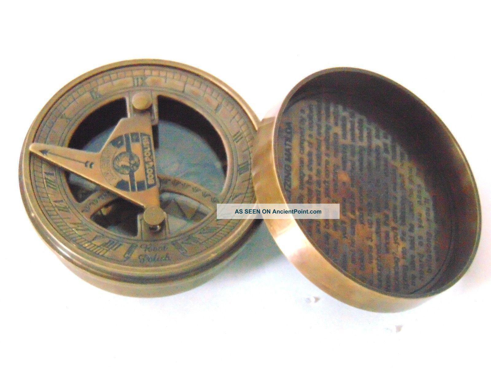 Vintage Nautical Brass Sundial Compass - Christmas Gift Sundial Compass Compasses photo