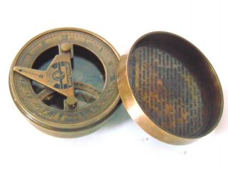Vintage Nautical Brass Sundial Compass - Christmas Gift Sundial Compass photo