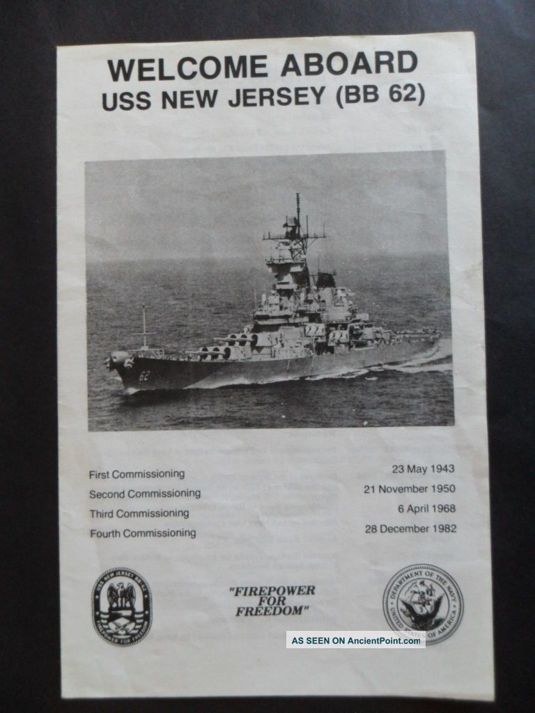 Us Navy Uss Jersey (bb - 62) Welcome Aboard C1987 Other Maritime Antiques photo