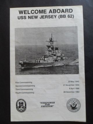 Us Navy Uss Jersey (bb - 62) Welcome Aboard C1987 photo
