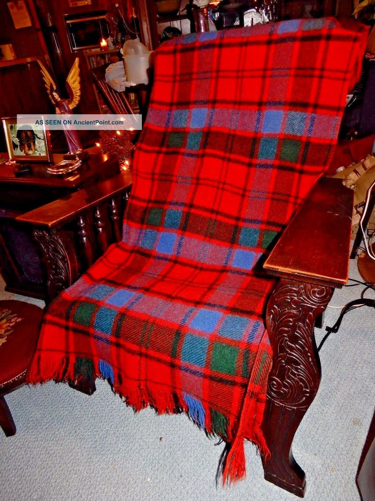 Awesome Vtg Deep Red Blue Black Wool Plaid Fringed Stadium Camp Blanket 50x62 Hearth Ware photo