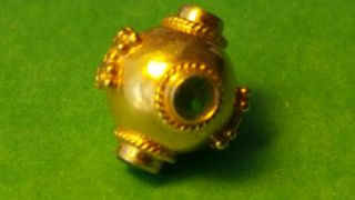 Large 23k Solid Gold Bead With Emeralds photo