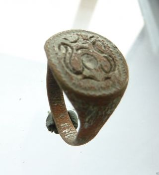 Post - Medieval Bronze Seal - Ring (456). photo