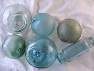 6 Abused & Flawed Authentic Japanese Glass Floats,  Alaska Beachcombed photo