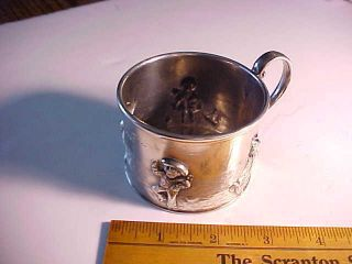 1895 Cincinnati Silver Repousee Cup Children At Seashore By Kate Greenaway Fine photo
