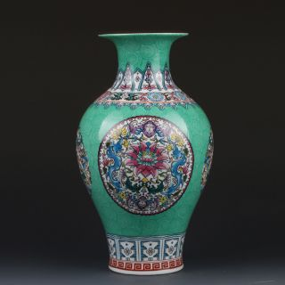 Chinaese Enamel Color Porcelain Hand - Painted Vase W Qianlong Mark G219 photo