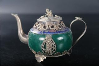 Exquisite China Carving Tibetan Silver Inlay Teapot Monkey Lid photo