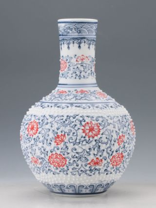 Chinese Blue And White Porcelain Painted Flower Vase M1 photo