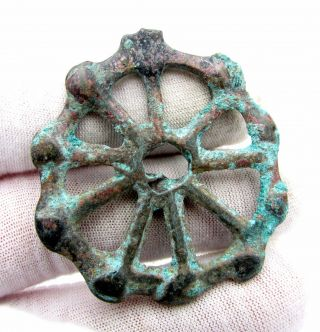 Roman Bronze Wheel Of Fortune Amulet - Ancient Wearable Artifact - D167 photo