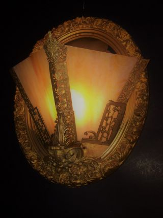 Fine Fabulous Antique Art Deco Gold Gilt Slag Glass Slip Shade Light Sconce 1920 photo