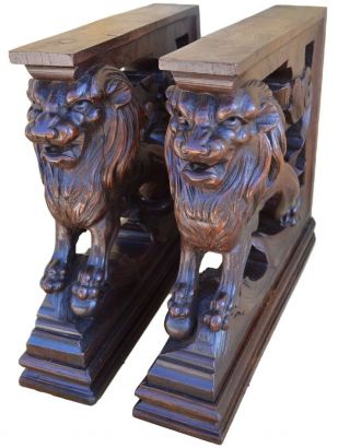 French Victorian Oak Wood Carved Corbels Architectural Support Furniture Lion photo