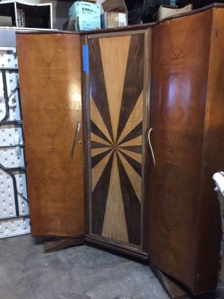 Antique French Art Deco 3 Door Corner Wardrobe photo