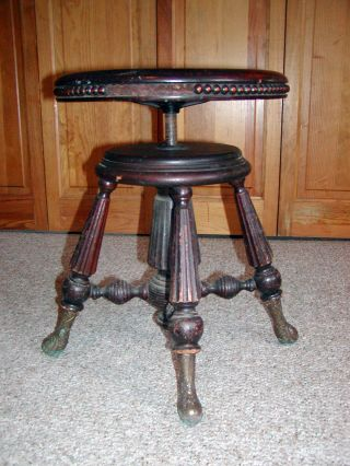 Late 1800 ' S Chas.  Parker Co.  Meriden Ct Wooden Ornate Brass Footed Piano Stool photo