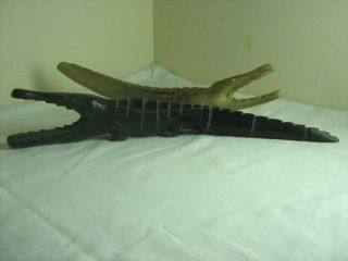 Antique Hand Carved Bone And Ebony Crocodiles photo
