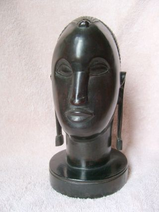 Vintage African Hand Carved Ebony Tribal Sculpture 7