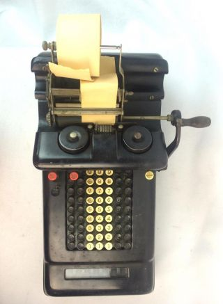 Vintage Burroughs Antique Adding Machine 7 Column Hand Crank W/paper And Ribbon photo