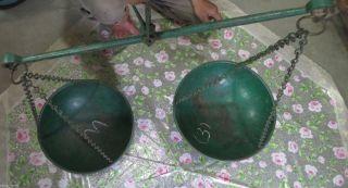 Vtg.  Primitive Hand Balance Chain Hanging Mercantile Scale Indian Taraju Green photo