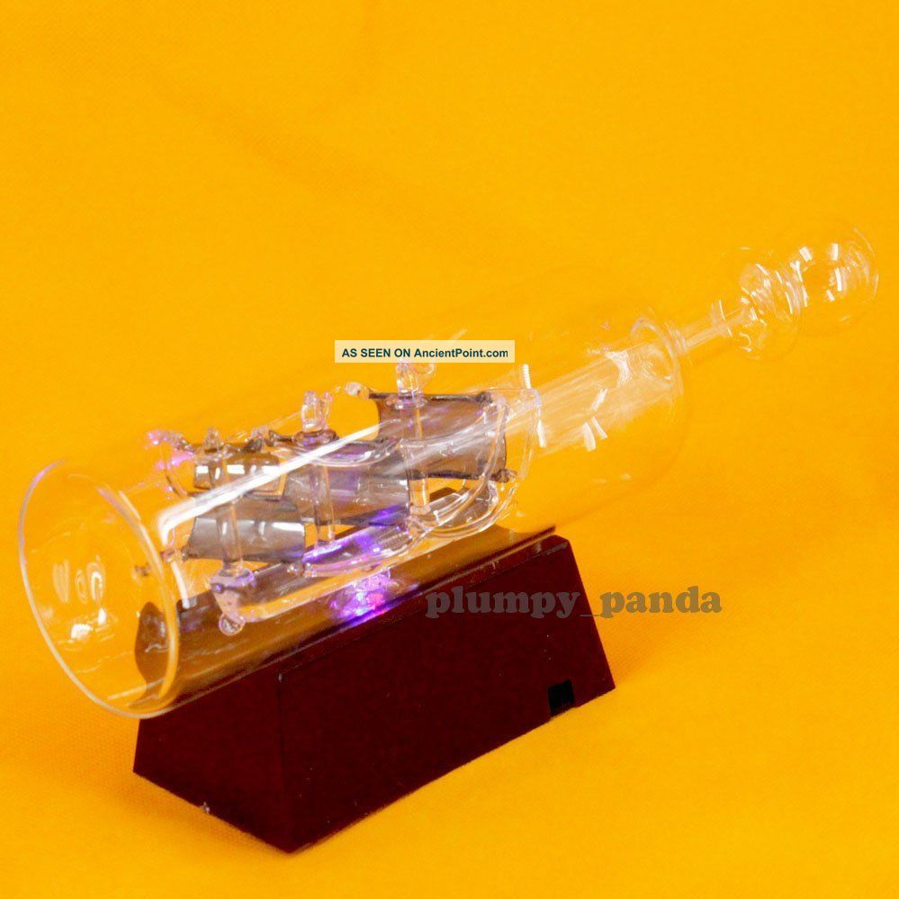 Innovative Ship In A Bottle With Led Light 24 Cm Nautical Glass Decor Items Other Maritime Antiques photo