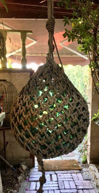 Giant Antique Japanese Green Globe Glass Float 14