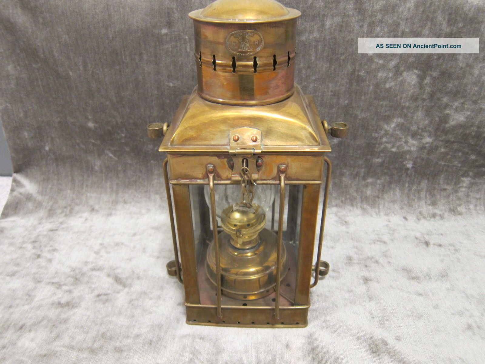 Antique Large & Heavy 1920 ' S Neptune N R Ship Oil Lantern Brass & Copper Lamps & Lighting photo