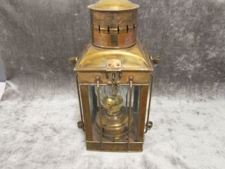 Antique Large & Heavy 1920 ' S Neptune N R Ship Oil Lantern Brass & Copper photo