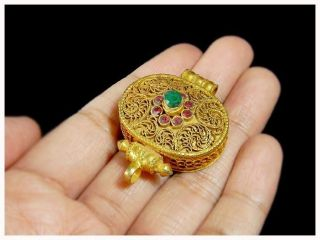 Heavy 24ct Gold Gilded On Silver,  Ruby,  Emerald Box photo