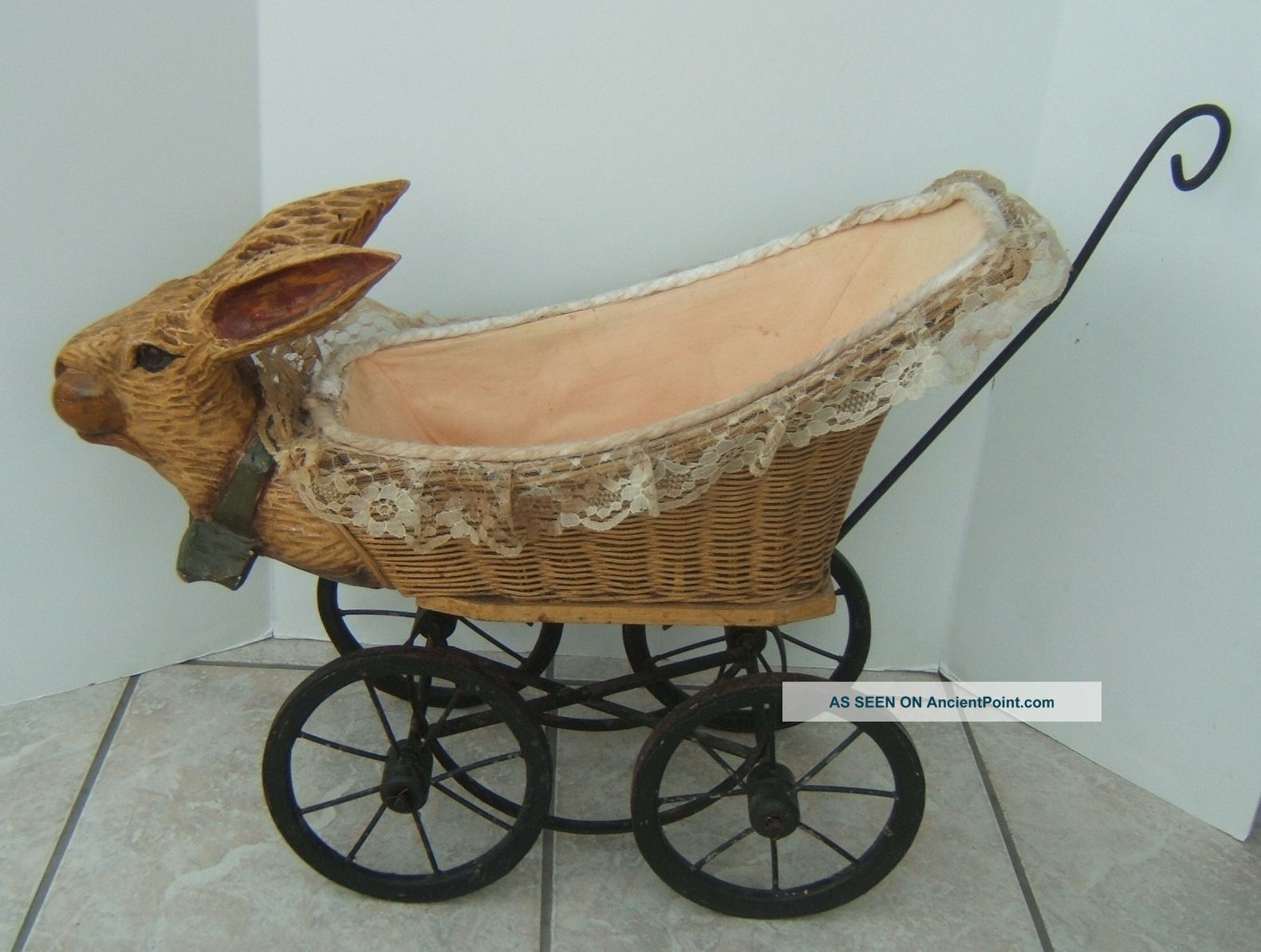 Vintage Rabbit Bunny Wicker Doll Baby Buggy Carriage Stroller Baby Carriages & Buggies photo