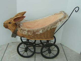 Vintage Rabbit Bunny Wicker Doll Baby Buggy Carriage Stroller photo