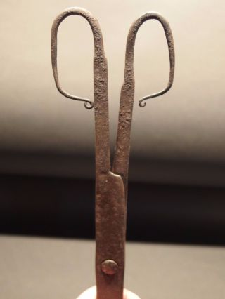 18th C Primitive Antique Hand Forged Wrought Iron Pipe Tongs Hearth Utensil photo