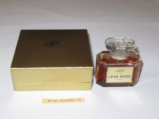 Vintage Jean Patou Joy Perfume Bottle/gold Box 1/2 Oz Baccarat - Open - 3/4 Full photo