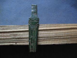 Perfect Ancient Celtic Engraved Bronze Handle 600 - 400 B.  C. photo