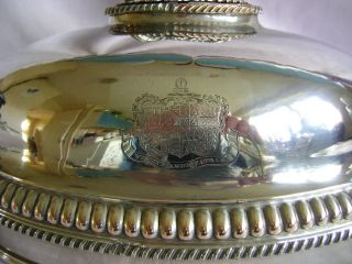 Elaborate Paul Storr Handle Atop An Old Sheffield Plate Armorial Meat Cover photo