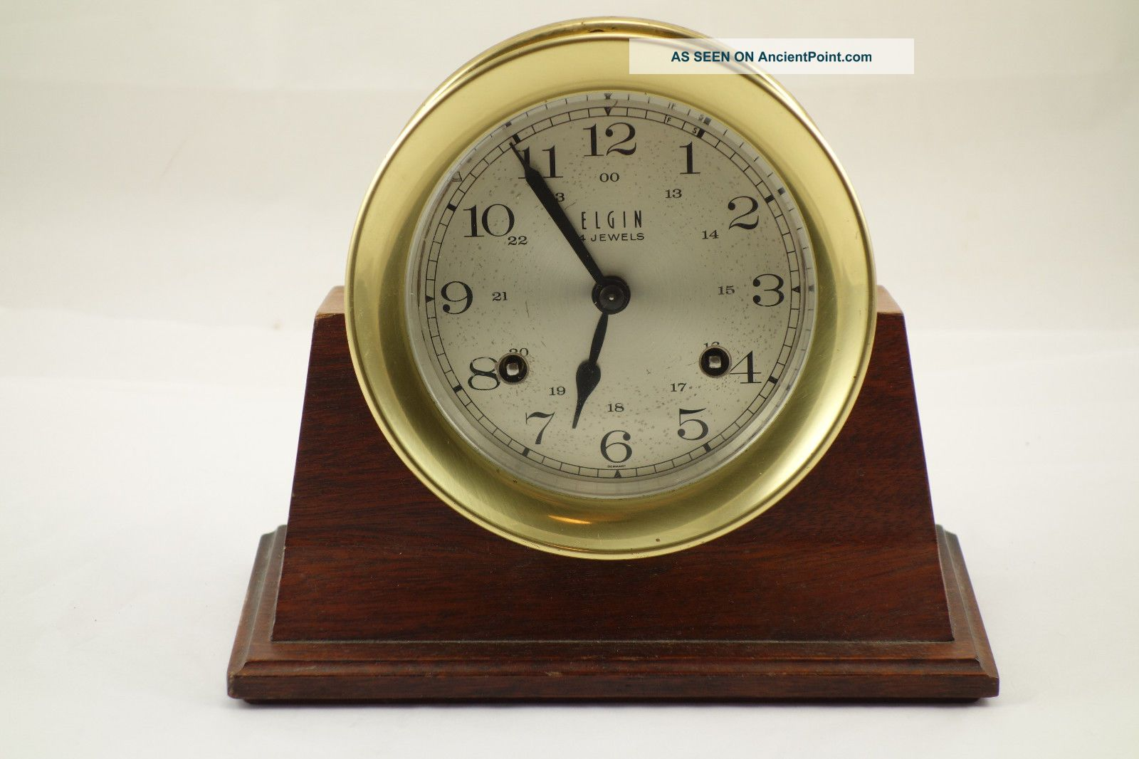Vintage Brass Elgin Ships Bell Clock With Wood Stand & Key For Repair Clocks photo