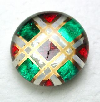 Antique Kaleidoscope Glass Button Green & Red Plaid Under Crystal Top - 9/16