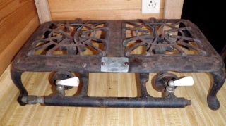 Vintage American Stove Co.  Cast Iron 2 Burner Lp Gas Hot Plate Camp Cook Stove photo