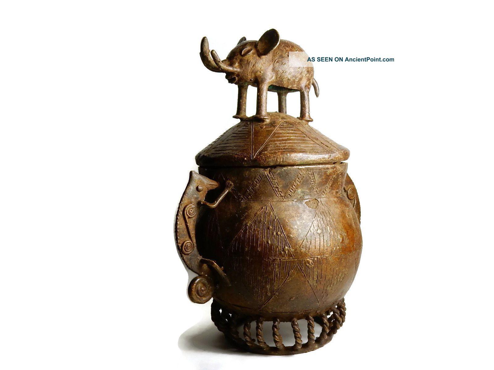 Rare African Tribal Antique Akan Ashanti Cast Bronze Medicine Pot Container Sculptures & Statues photo