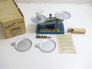 Vintage Pelouze Model R - 47 Precision Scale / Both Metric Gram Weights photo
