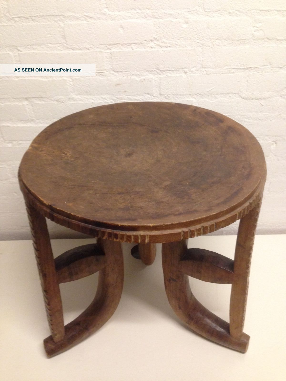 Ethiopia: Old Large African Ethiopian Authentic 3 - Leg Injerra Table - 50 Cm. Other African Antiques photo