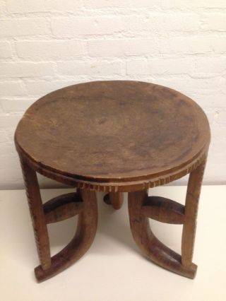 Ethiopia: Old Large African Ethiopian Authentic 3 - Leg Injerra Table - 50 Cm. photo