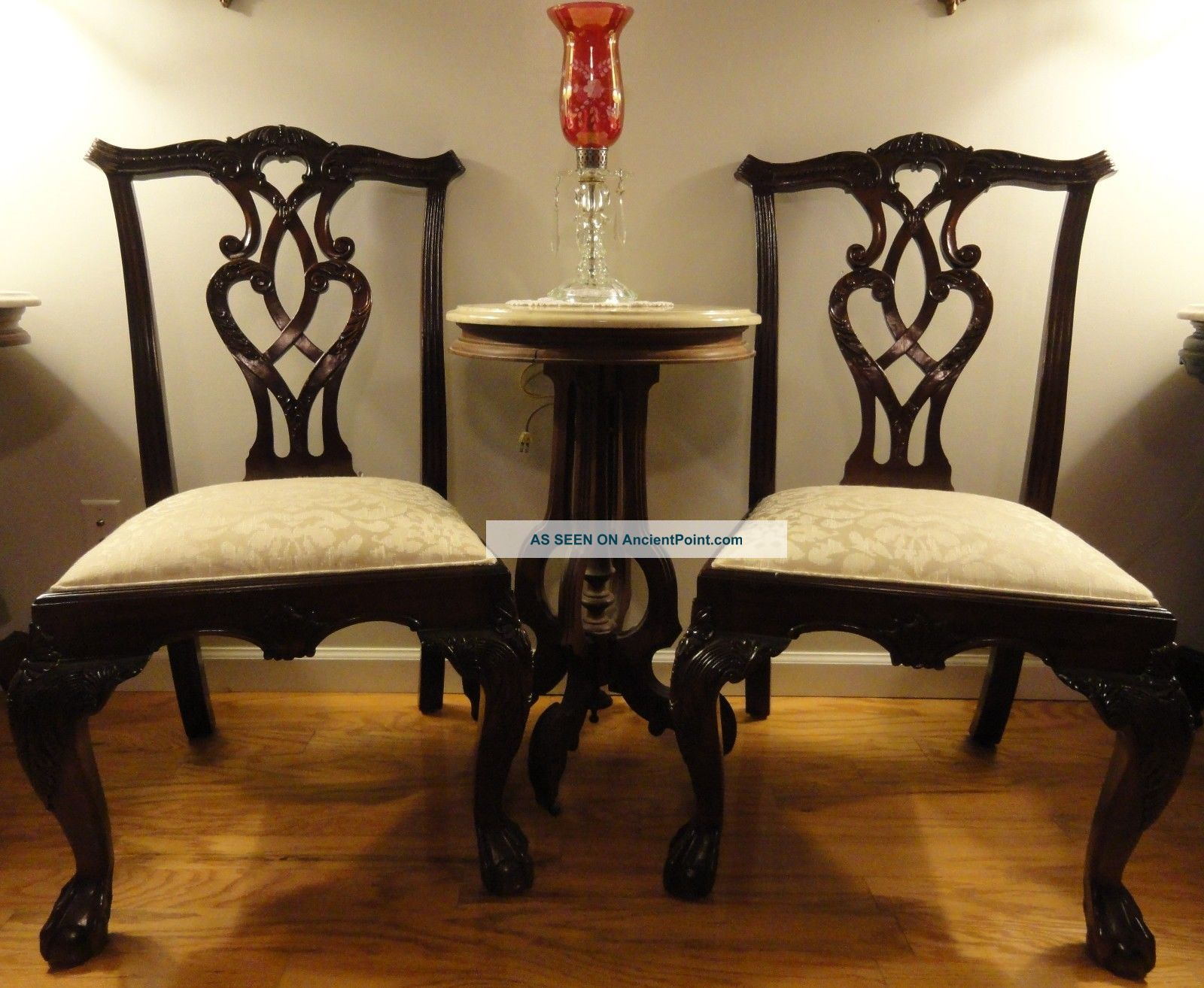 Pair Vintage Mahogany Chippendale Ball And Claw Foot Side Accent Chairs Pierced Post-1950 photo