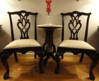 Pair Vintage Mahogany Chippendale Ball And Claw Foot Side Accent Chairs Pierced photo