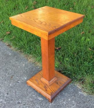 Antique Arts Crafts Mission Oak Pedestal Plant Fern Stand Lamp Accent Table photo