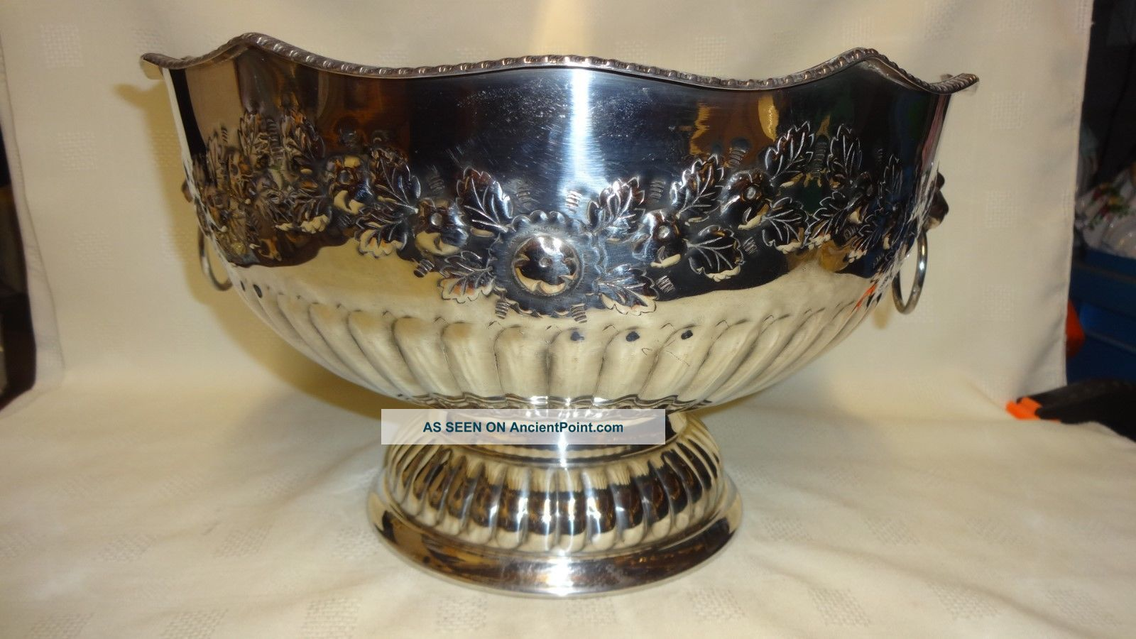 Antique Large & Heavy Silver Plate On Copper Ornate Punch Bowl - Lions Head Other Antique Silverplate photo