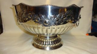 Antique Large & Heavy Silver Plate On Copper Ornate Punch Bowl - Lions Head photo