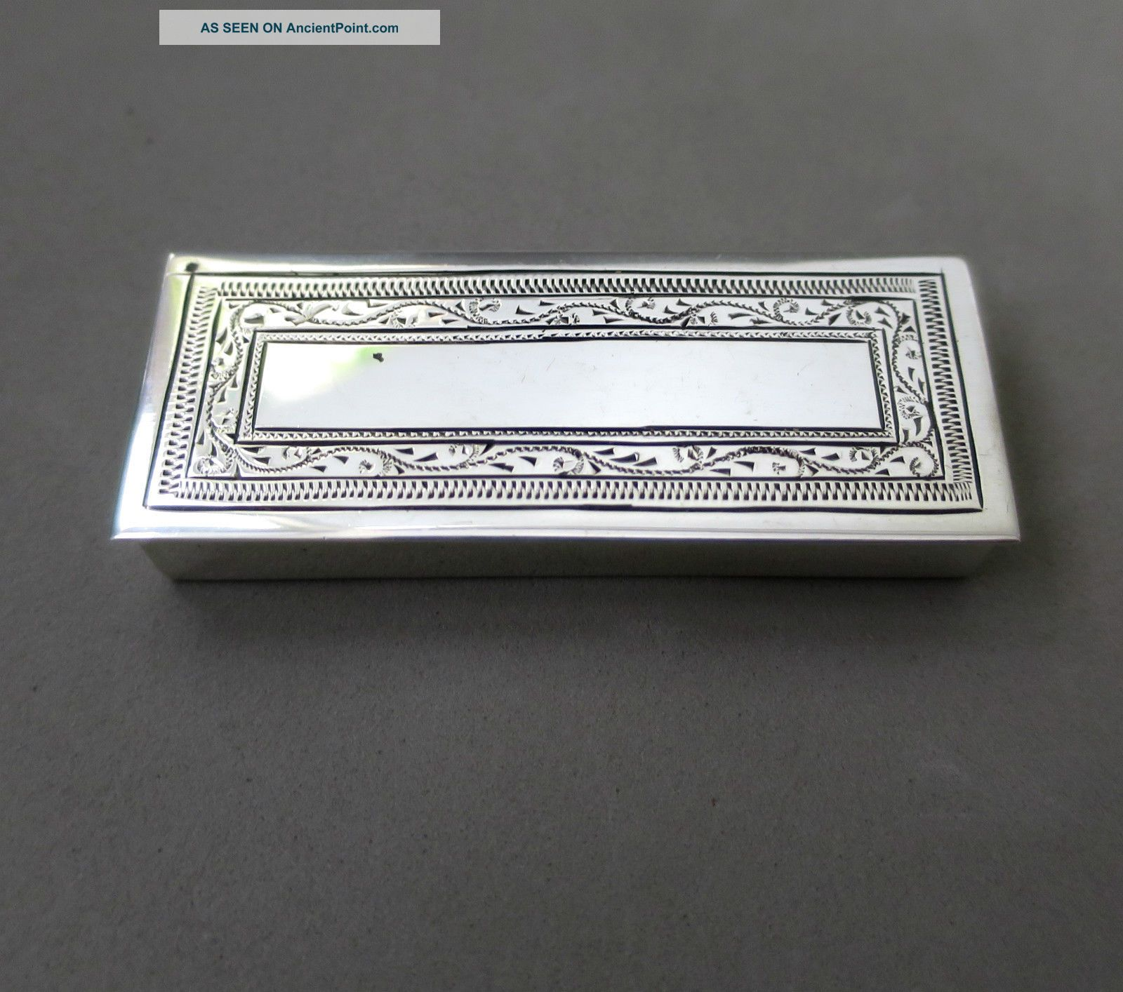 Lovely Sterling Solid Silver Hinged Pill/ Snuff Box Hallmarked Boxes photo