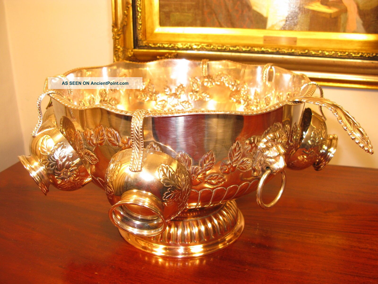 Vintage Antique Edwardian Style Large Ornate Silver Plate Punch Bowl Cups Ladle Other Antique Silverplate photo