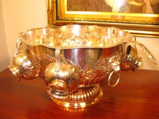 Vintage Antique Edwardian Style Large Ornate Silver Plate Punch Bowl Cups Ladle photo