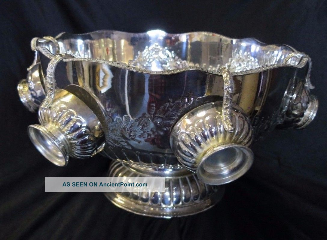 Decorative Silver On Copper Chased Large Heavy Punch Bowl - Lion Handles & Cups Bowls photo