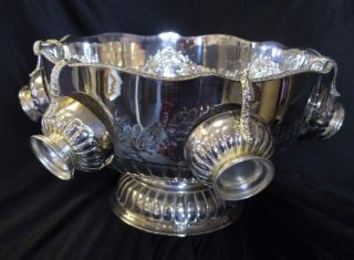 Decorative Silver On Copper Chased Large Heavy Punch Bowl - Lion Handles & Cups photo
