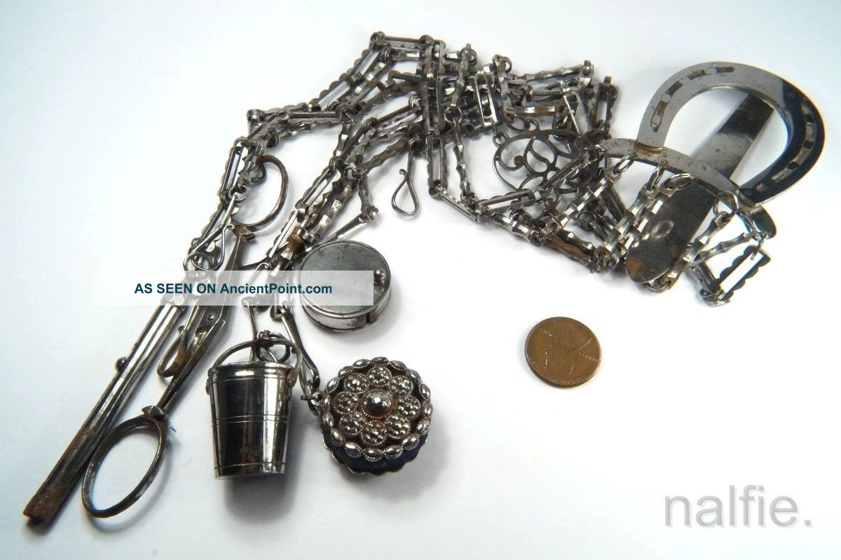Antique 19th Century Cut Steel Chatelaine W/ Scissors Sewing Thimble Pencil Etc Other Antique Sewing photo